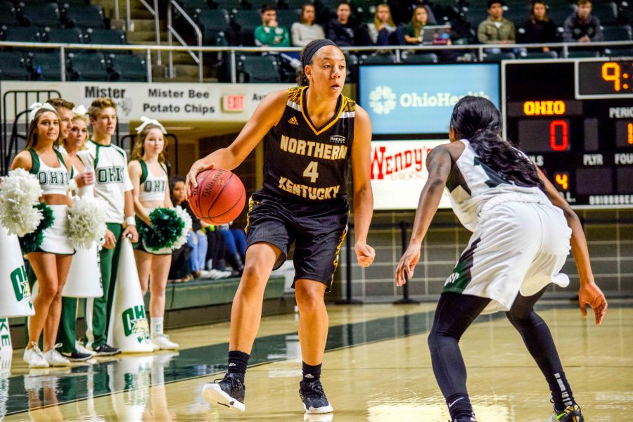 NKU's Mikayla Terry (4) drives around a defender Monday as the Norse played Ohio University in Athens, Ohio.