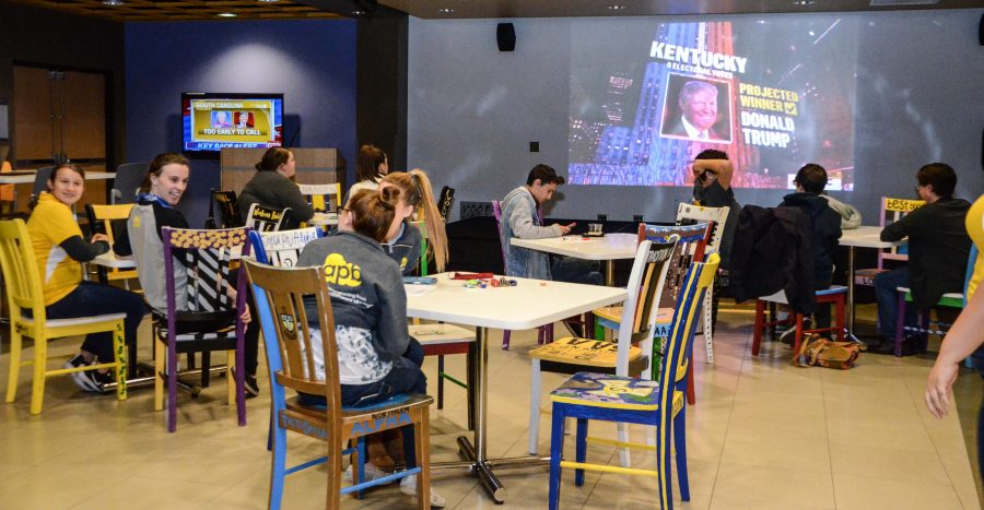 NKU students watch election returns at the APB watch party in the student union.