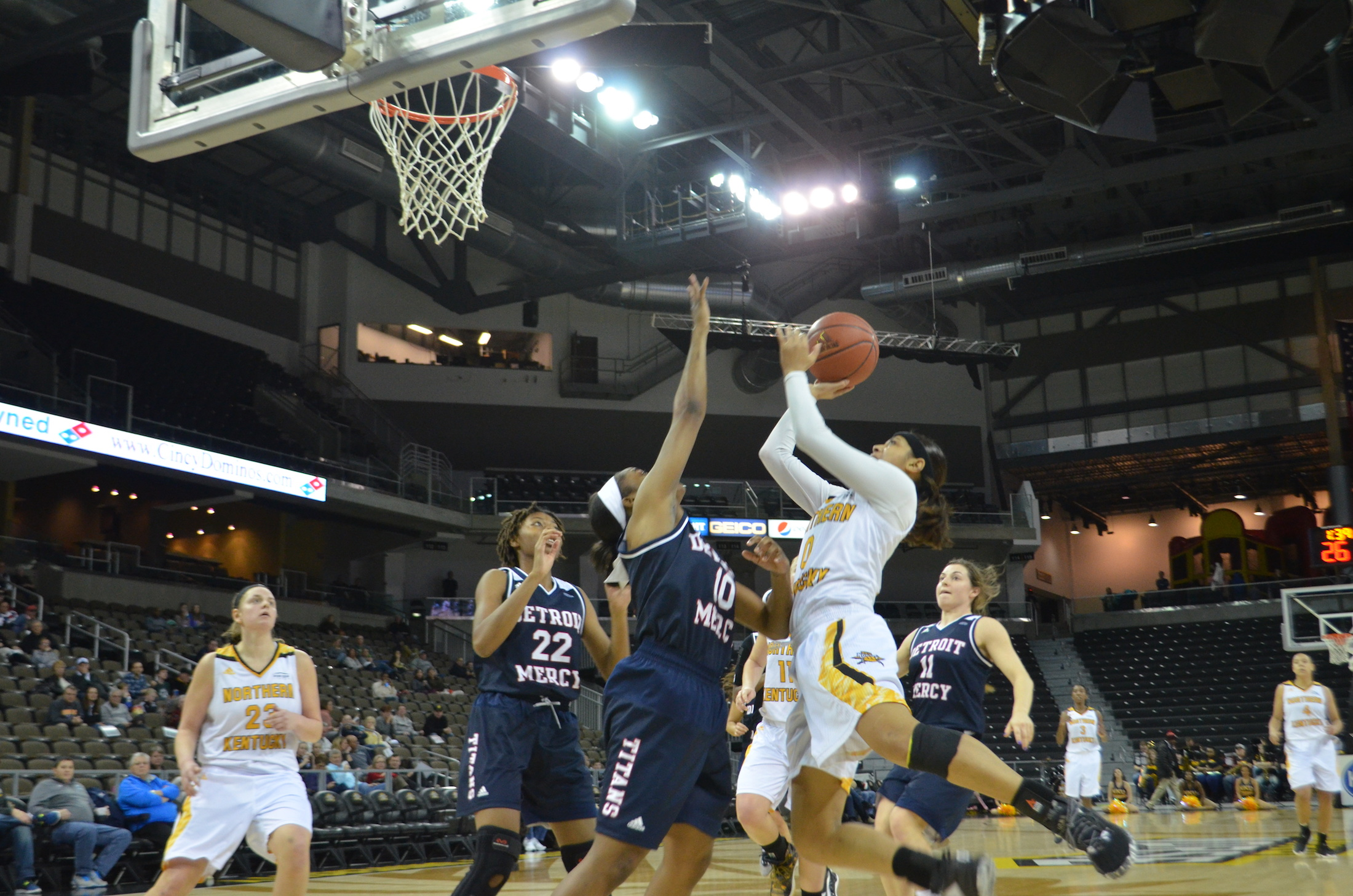 NKU's Shar'Rae Davis goes up with the ball at BB&T Arena against Detroit on Sunday.