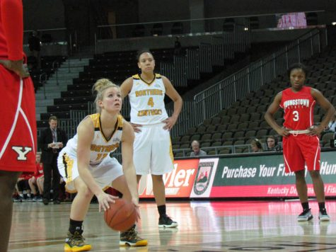 Taryn Taugher shoots a free throw after being fouled by Youngstown State