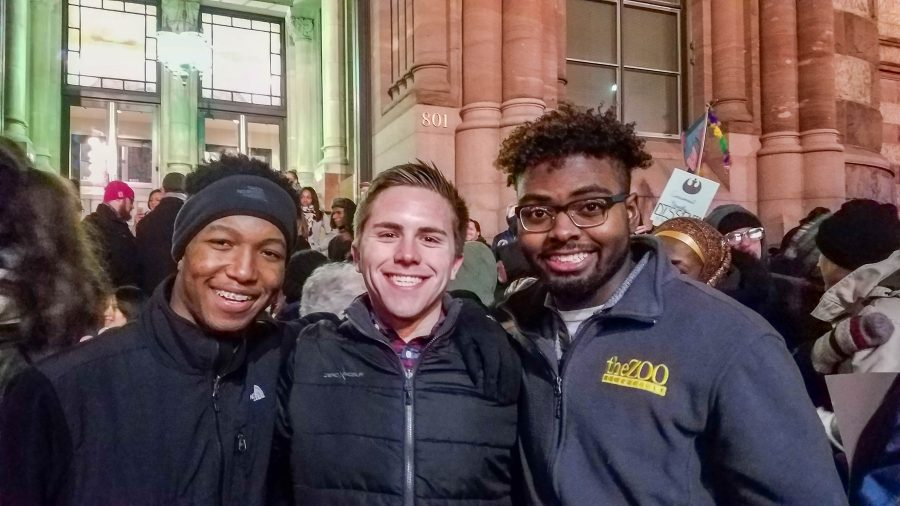 NKU+student+Sami+Dada%2C+Michael+Bailey+and+Patrick+Edwards+attend+Monday%27s+rally+in+Cincinnati+protesting+President+Donald+Trump%27s+executive+order+temporarily+limiting+immigration+from+certain+countries.