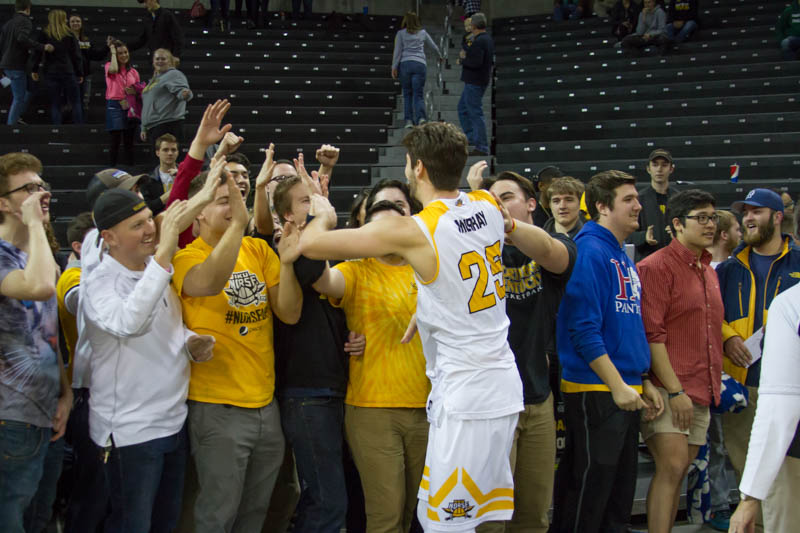 Murray+celebrates+with+the+student+section+after+the+Norse+defeated+Valparaiso