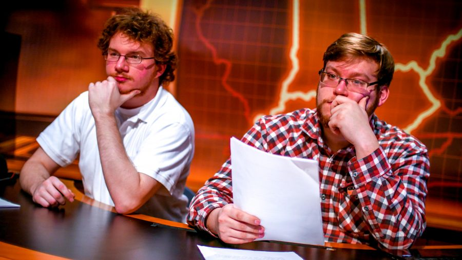 Isaiah Short (left) and Ethan Cornett (right) judged the auditions for