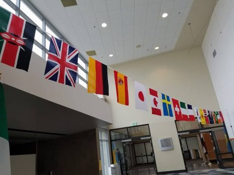Flags hang in the Student Union.