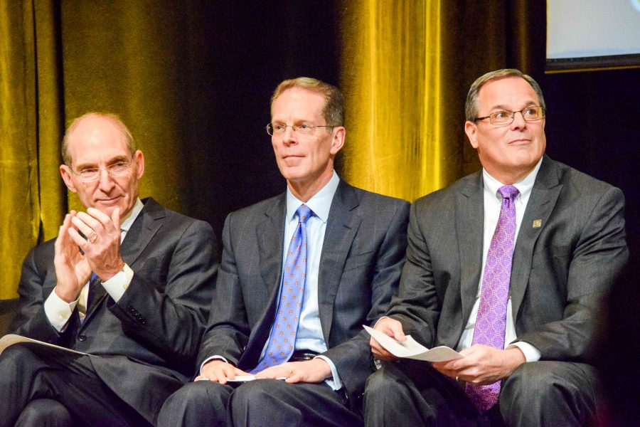 UK President Dr. Eli Capilouto (left), NKU President Geoffrey Mearns (center) and St. Elizabeth Health President Garren Colvin (right) during Monday's press conference.
