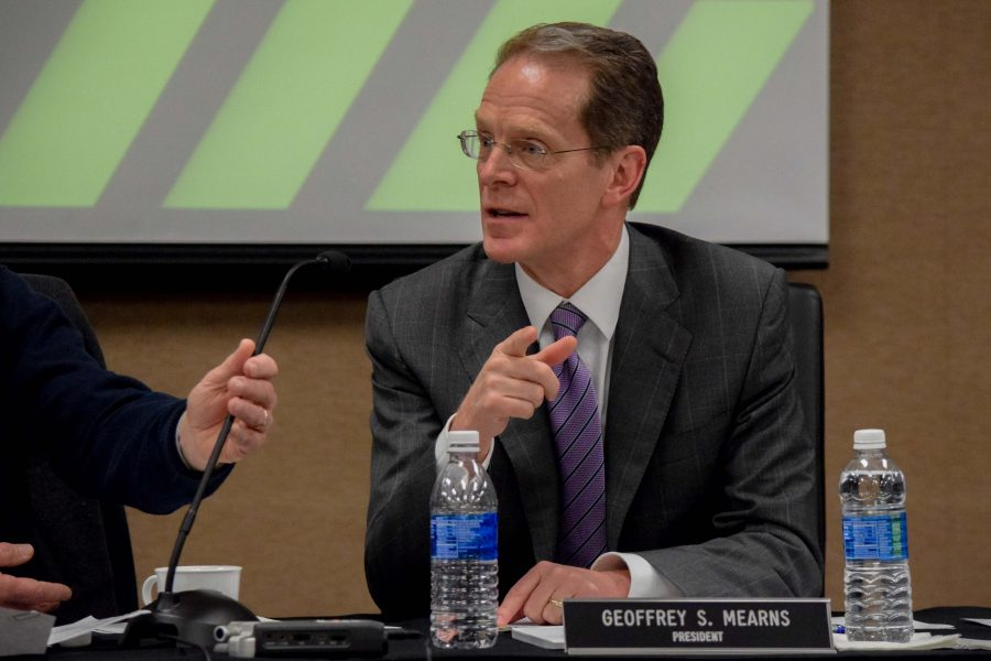 NKU President Geoffrey Mearns during Tuesday's Board of Regents meeting.