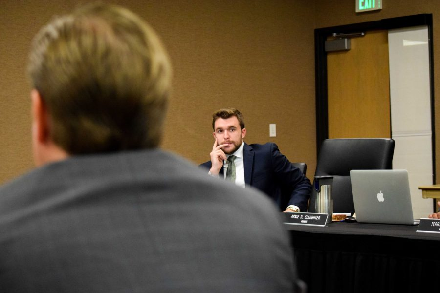 NKU regent and SGA president Will Weber looks on during Tuesday's presentation on the sale of WNKU.