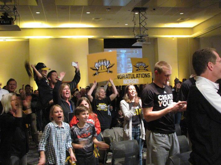 Norse fans cheers as they learn the Norse will play UK in the NCAA Tournament. Around 800 people showed up for the selection show party