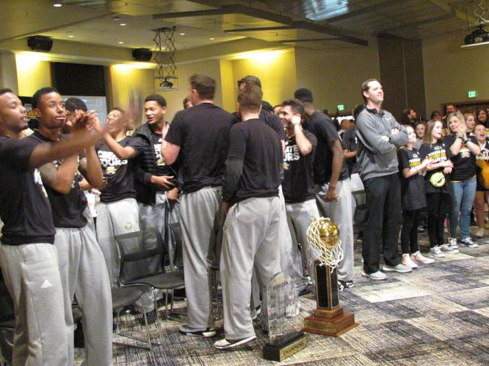 The Norse celebrate with fans and family after they ;earn they will play Kentucky in the first round of the NCAA Tournament