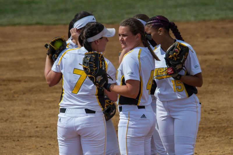 The Norse gather at the mound prior to the start of the inning against Valparaiso.