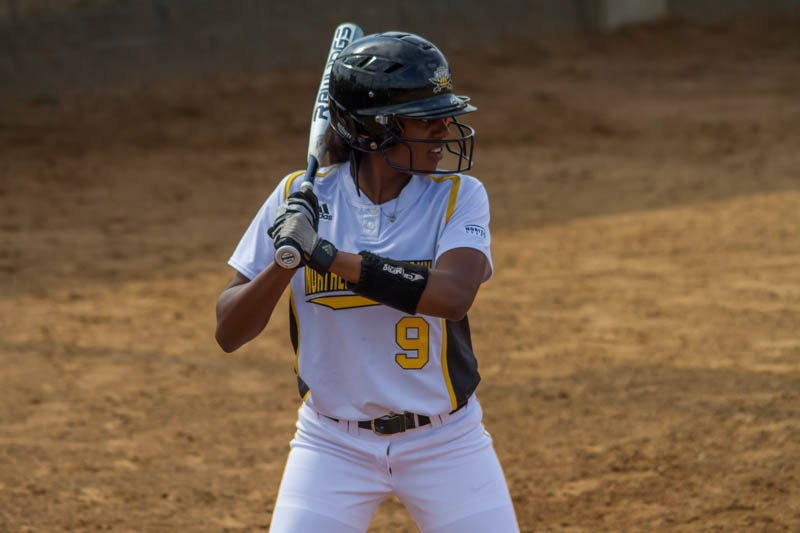 Zahrya McFarland stands in to face Valparaiso on Friday. The Norse would fall to the Crusaders 7-4