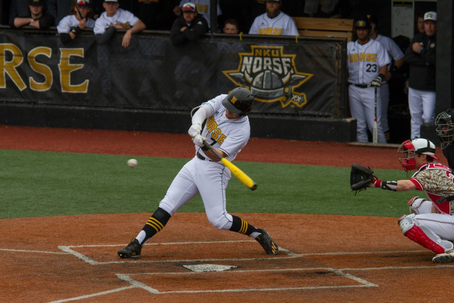 TJ Alas connects on a pitch for a homerun against the Penguins. NKU beat Youngstown State 15-8