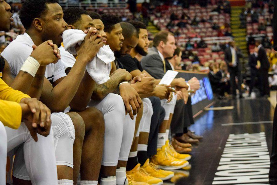 The NKU bench looks on during the Horizon League championship game against Milwaukee.