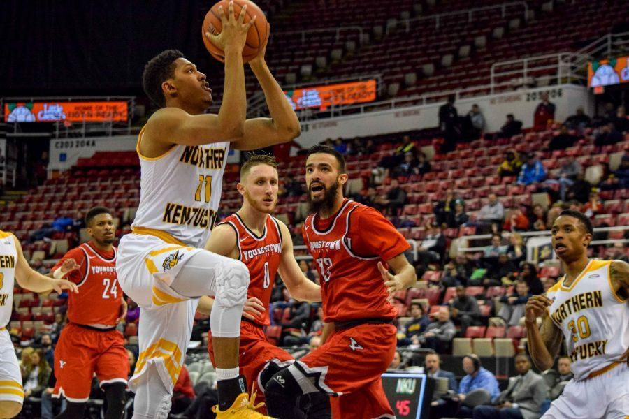 NKU's Mason Faulkner (11) goes up for a shot during Monday's Horizon League semifinal win over Youngstown State.