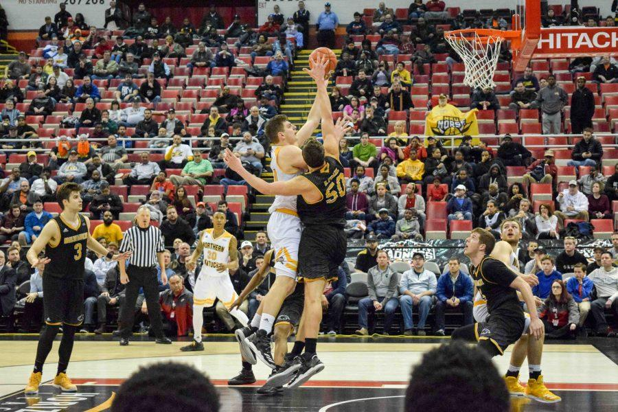 Drew McDonald hit this jumper in the lane with 42.3 seconds left Tuesday to put NKU up 56-51. The Norse defeated Milwaukee 59-53 to win the Horizon League championship.