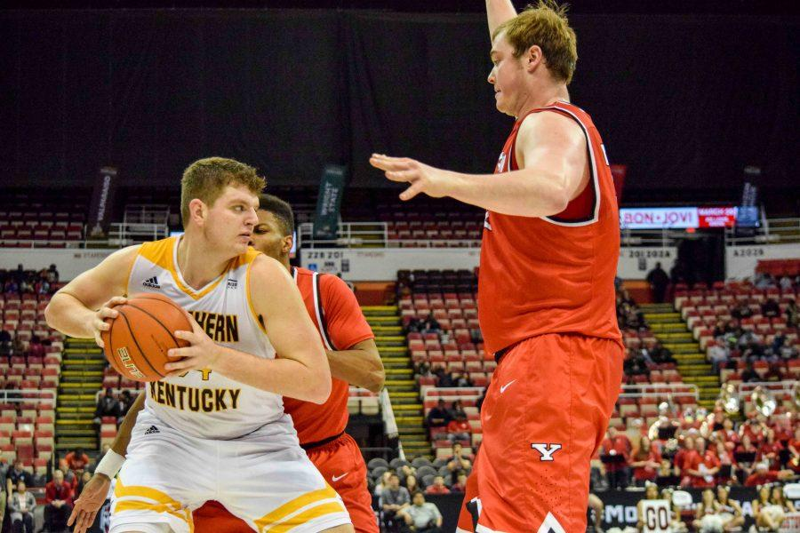Drew McDonald (34) is double-teamed during Monday's Horizon League semifinal win over Youngstown State.