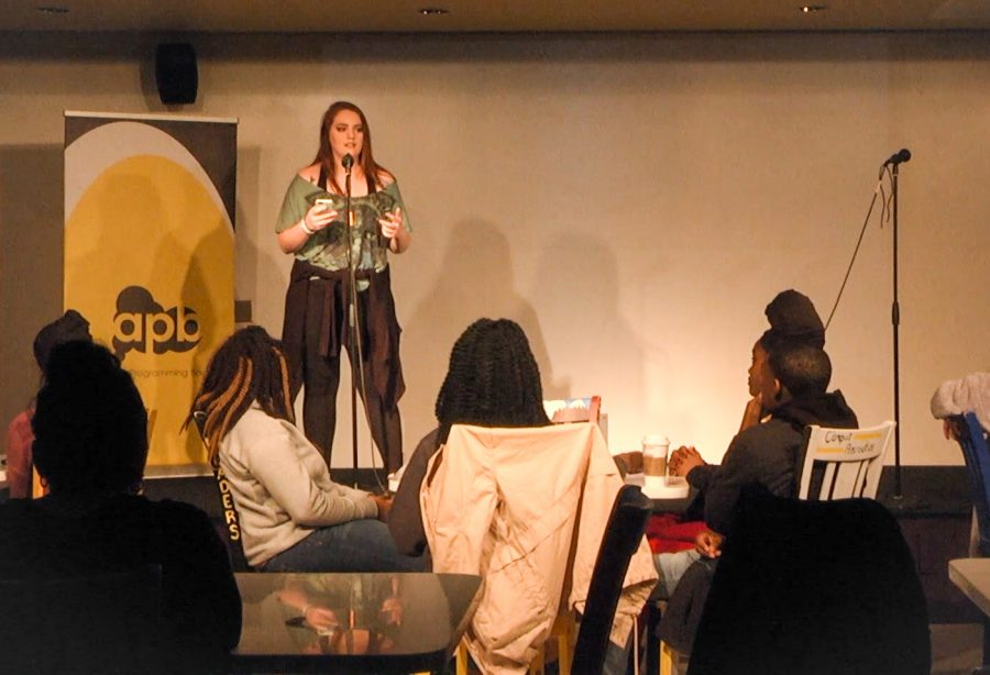 Lexie Stepro performs during the APB Slam Poetry event.