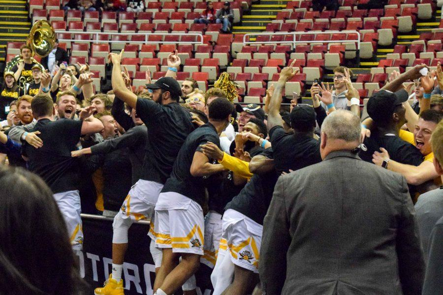 NKU players celebrate with the students who made the trip to Detroit.