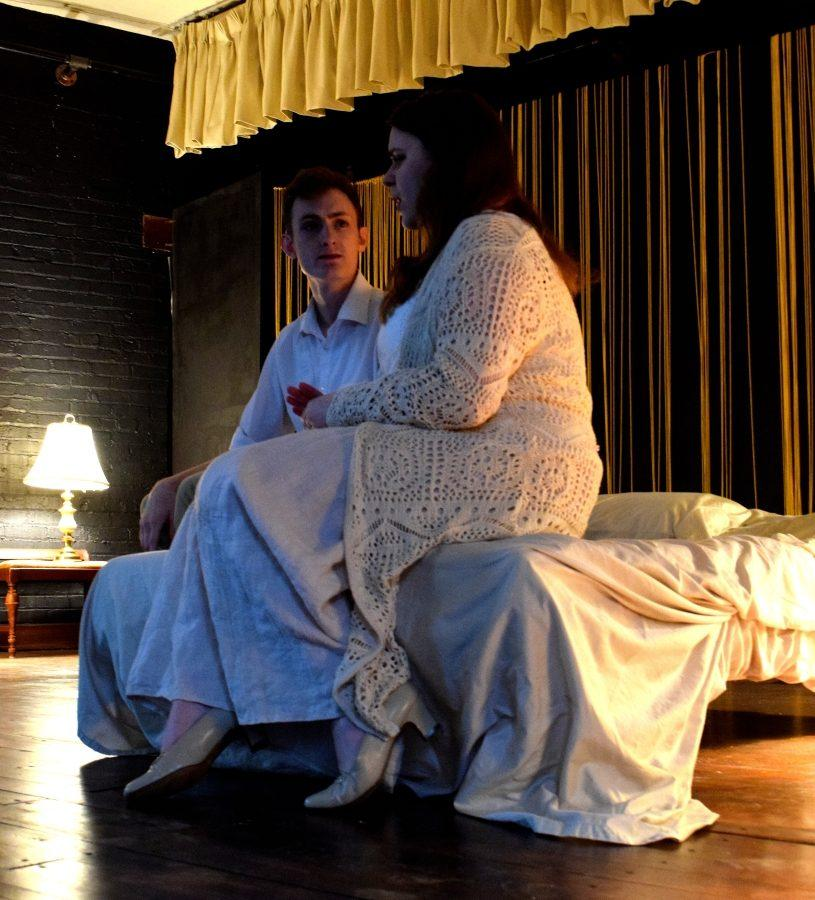 Zoe Brooks-Jeffers, who plays Jane #3, acts out a scene with Kyle Reihmer. Both are students at NKU.