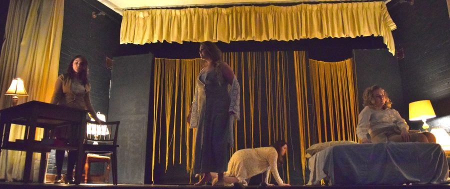 All four Janes fill the stage back-dropped by yellow. They rehearsed the last scene in the adapted