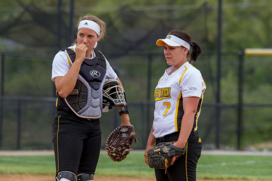Ashlynn+Roberts+looks+on+during+a+visit+to+the+mound+on+Tuesday+against+EKU.+