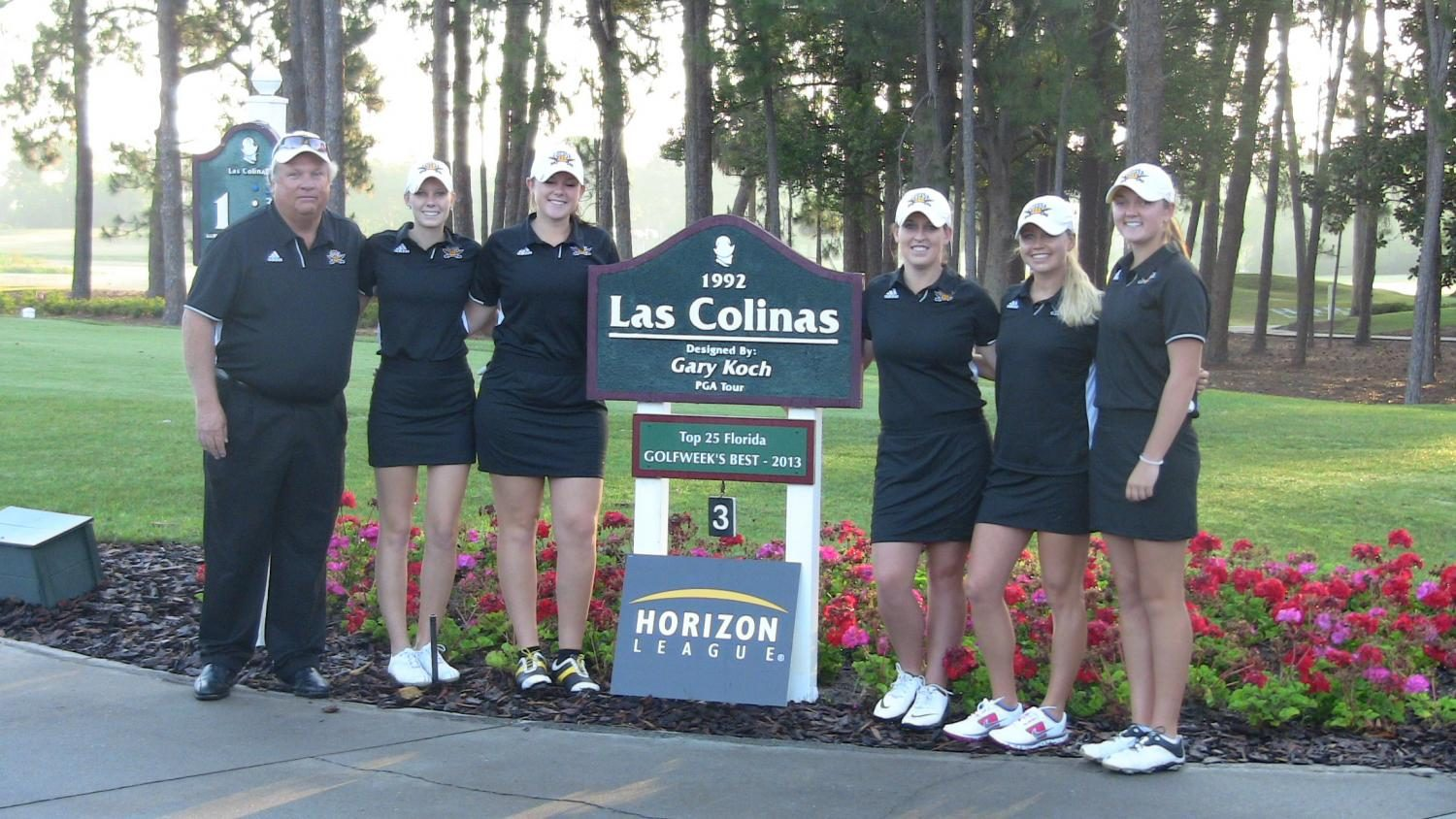 The NKU women's golf team poses for a picture at Las Colinas golf course during the Horizon League tournament