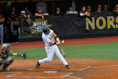 Chad Roberts swings at an inside pitch in the a victory over Valparaiso