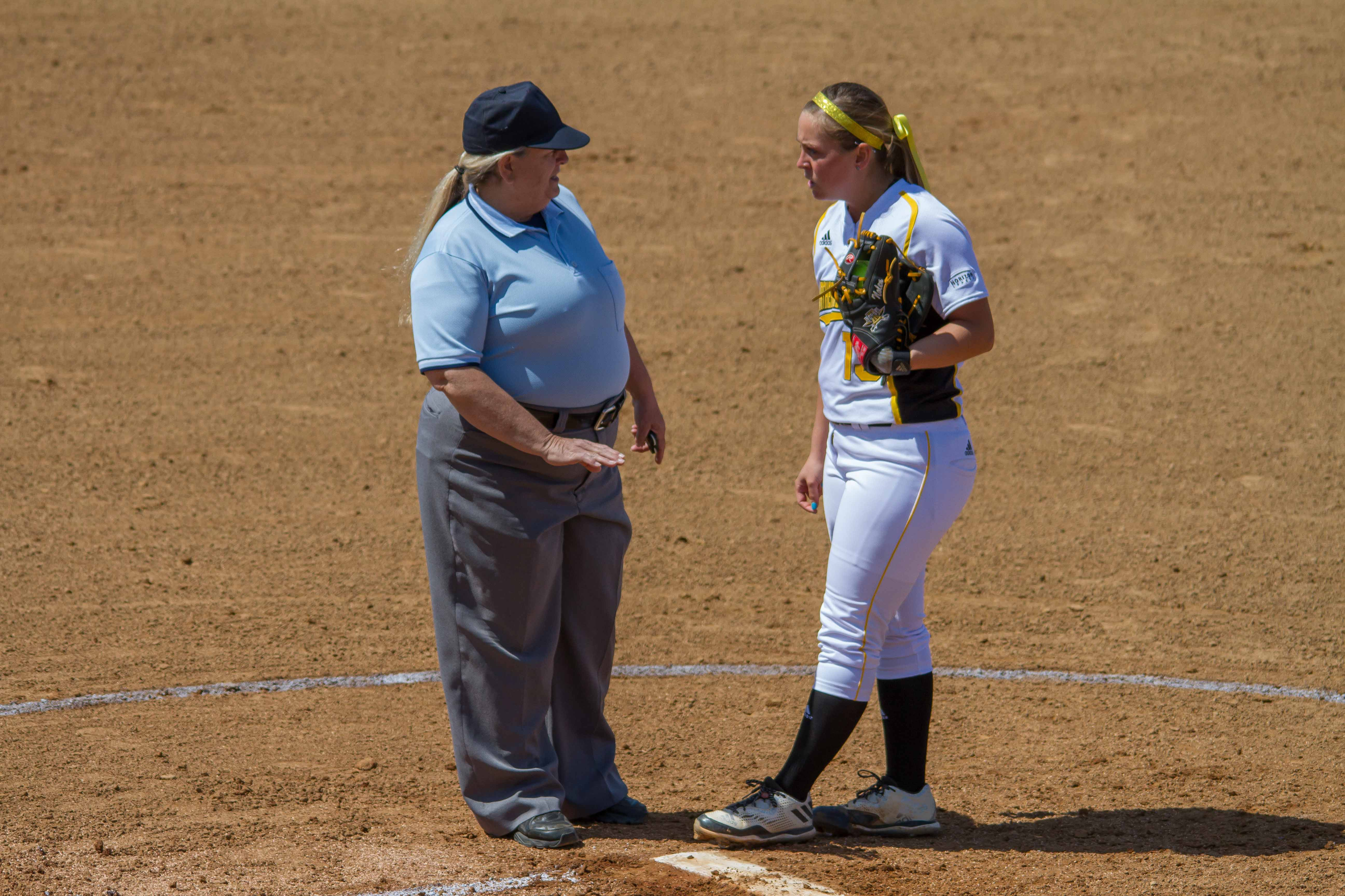 Pitcher+Charlie+Nolen+has+a+discussion+with+an+umpire+during+the+game+with+Youngstown+State
