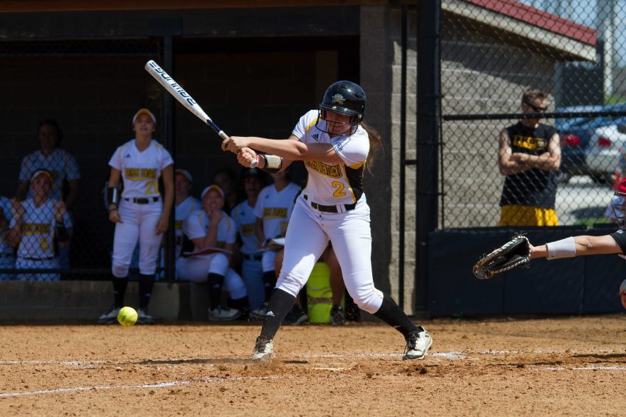 Ava Lawson connects on a pitch against Youngstown State