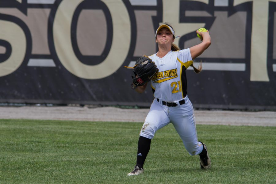 Kailey Rossiter throws the ball back into the infield against Cleveland State