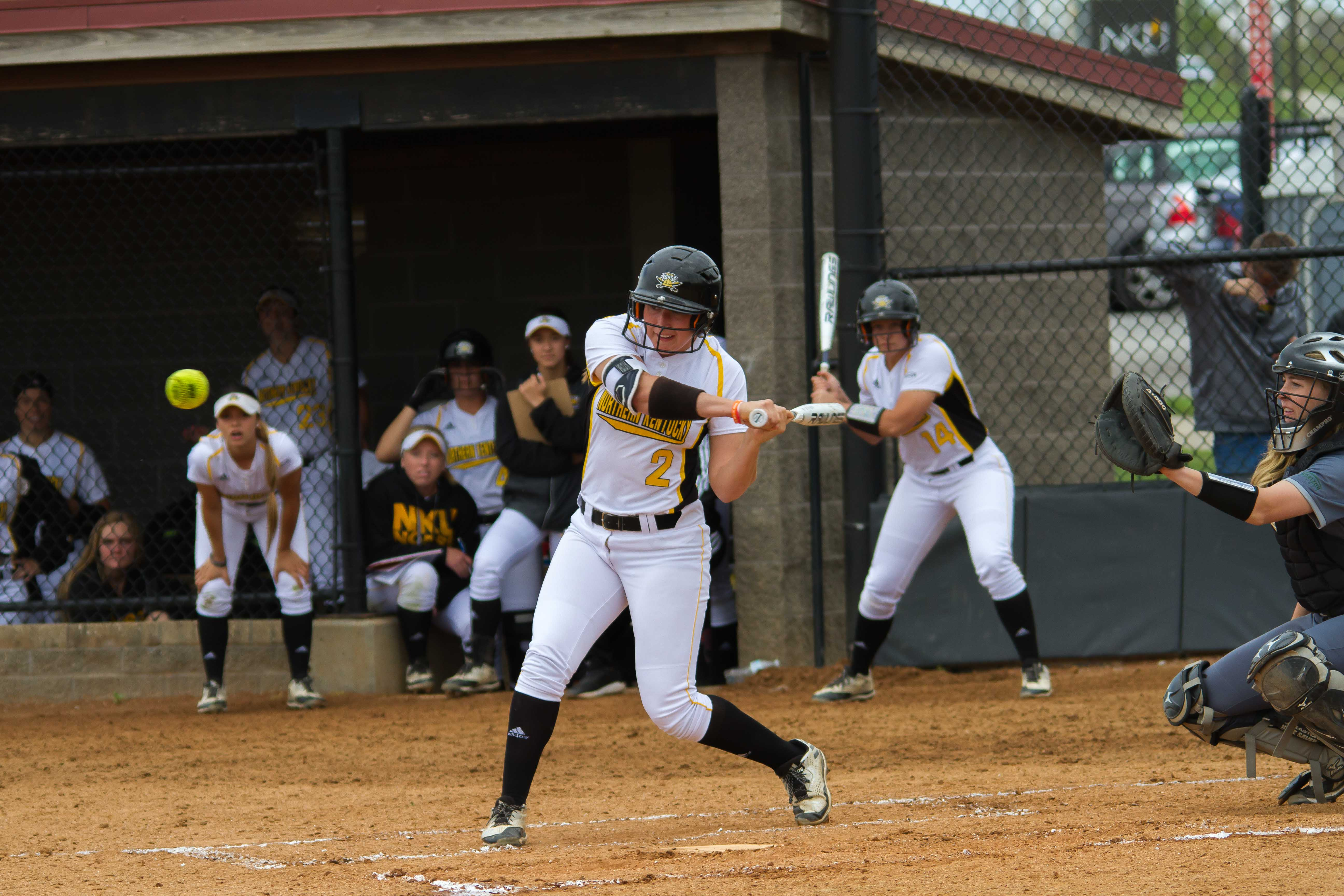 Ava Lawson swings at a pitch high in the zone against Cleveland State