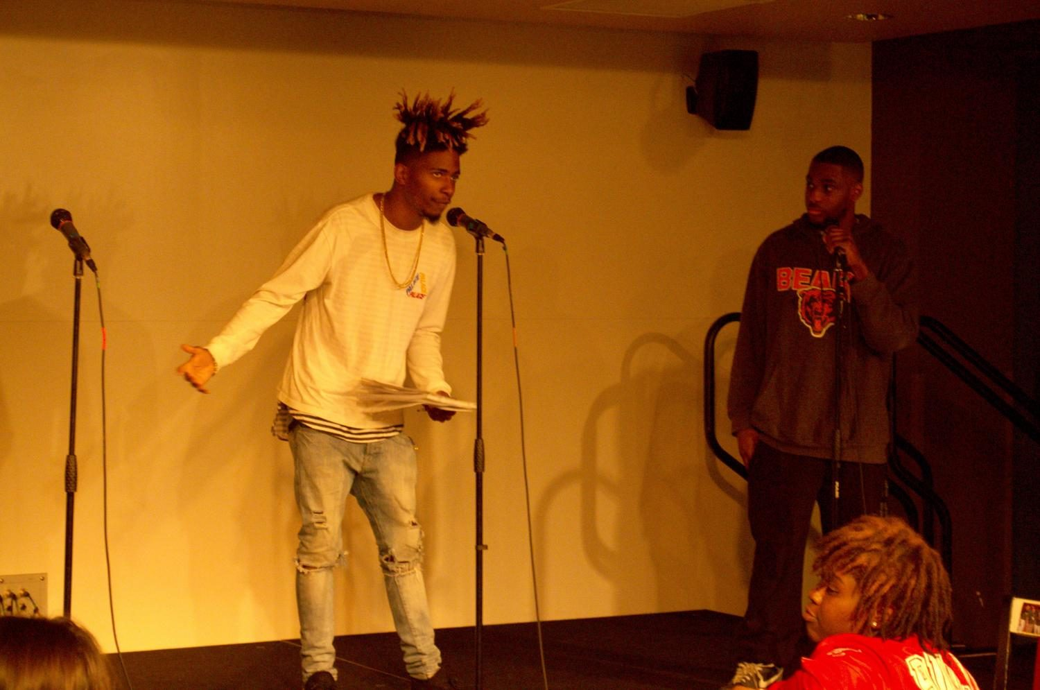 TJ Rosewood hosts one of the Cypher events with his co-host of Thursday Night Lights, Malik Washington.