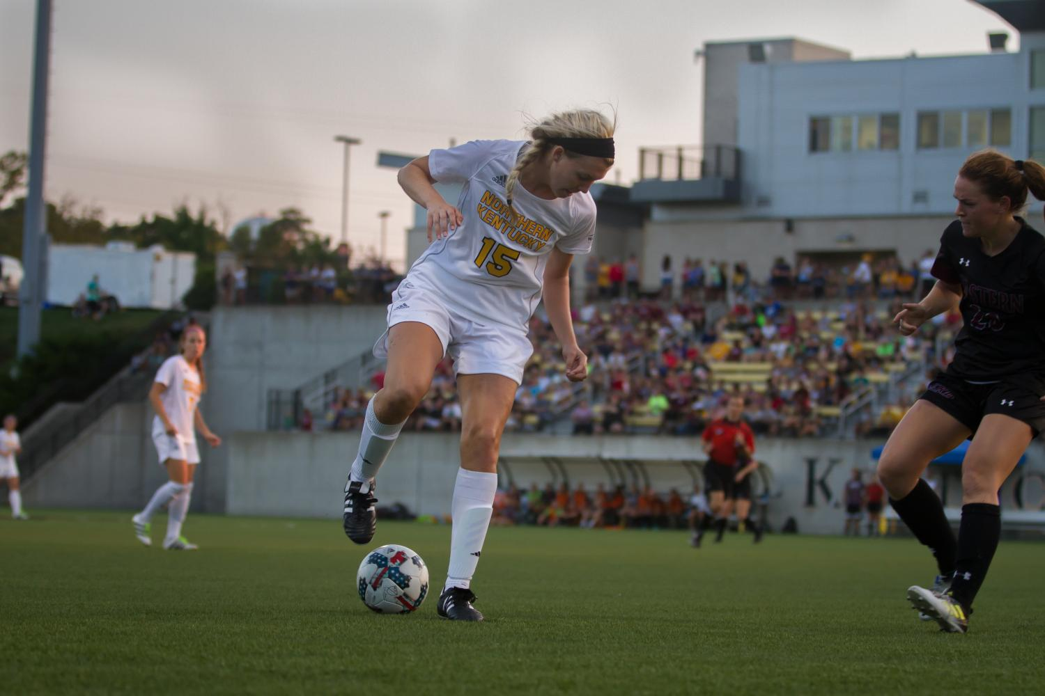 Kailey Ivins got the start in the midfield for the Norse against EKU