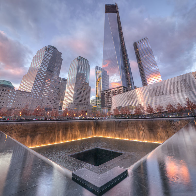 At Ground Zero, a memorial is in place to remembers those who died in the wake of the 9/11 terrorist attacks.