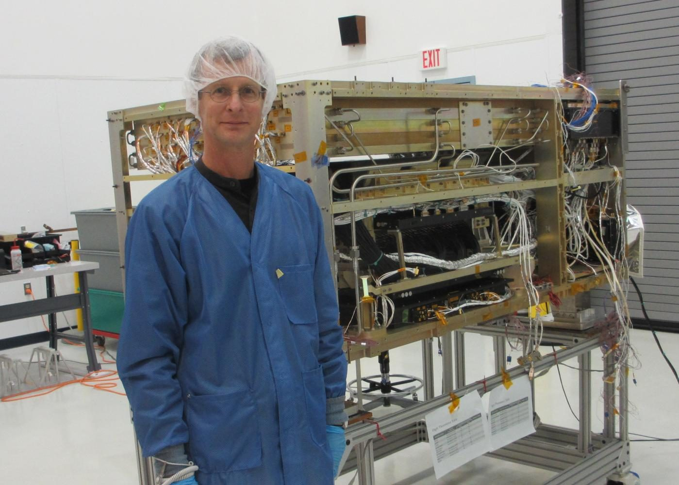 Nutter and the partially-assembled ISS-CREAM.