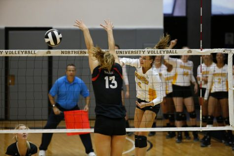 Haley Libs records a kill during the NKU Invitational in Regents Hall.