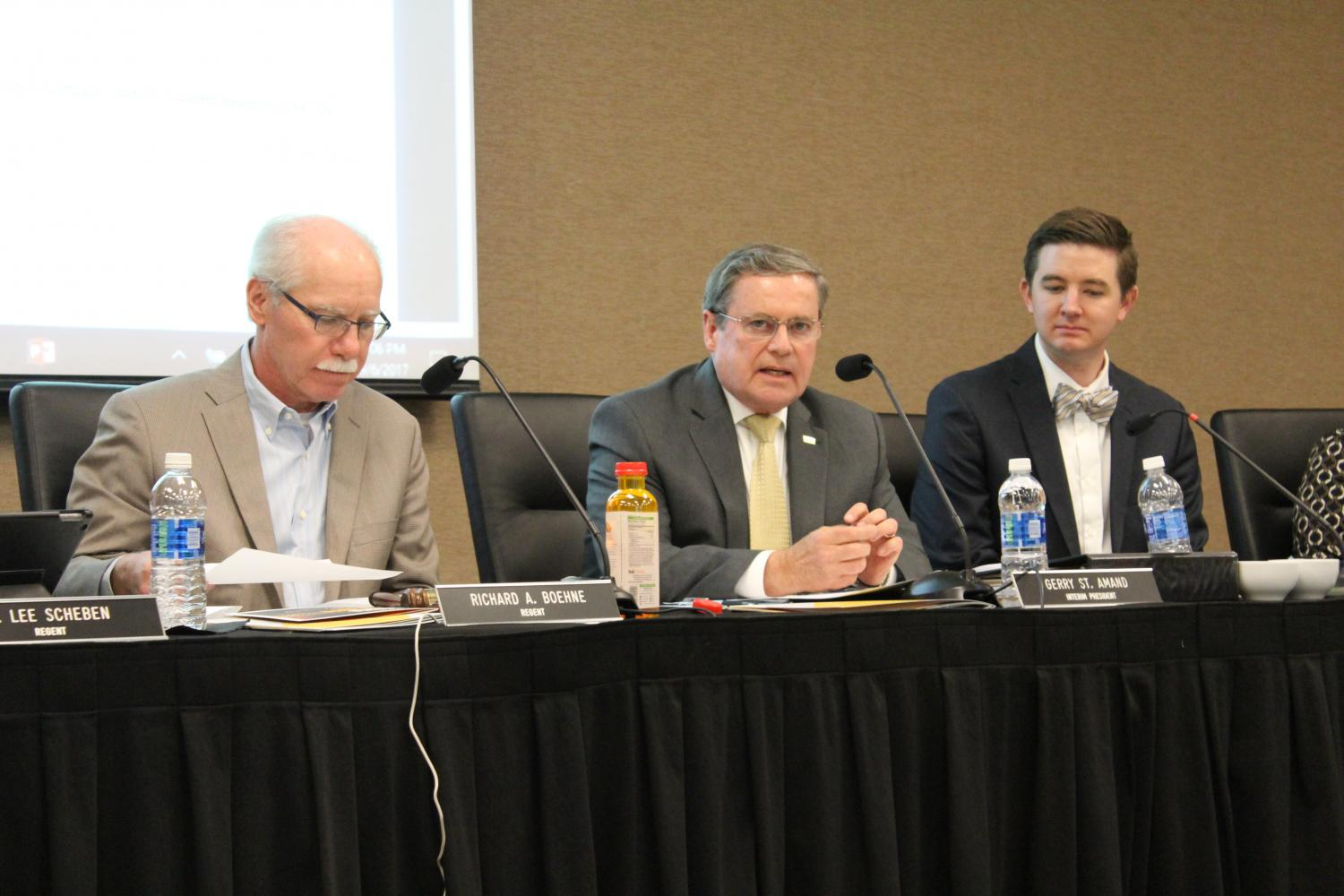 Gerard St. Amand, center, at a Board of Regents meeting Sept. 6. A bill passed April 26 that freezes NKUs pension contribution rate for one year.
