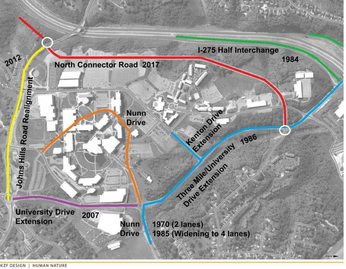 A history of the roads of NKU, including the new connector road which was completed over the summer.