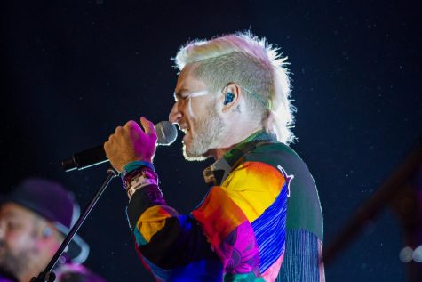 Walk the Moon frontman Nicholas Petricca donned a multicolored button-down for the night's closing set.
