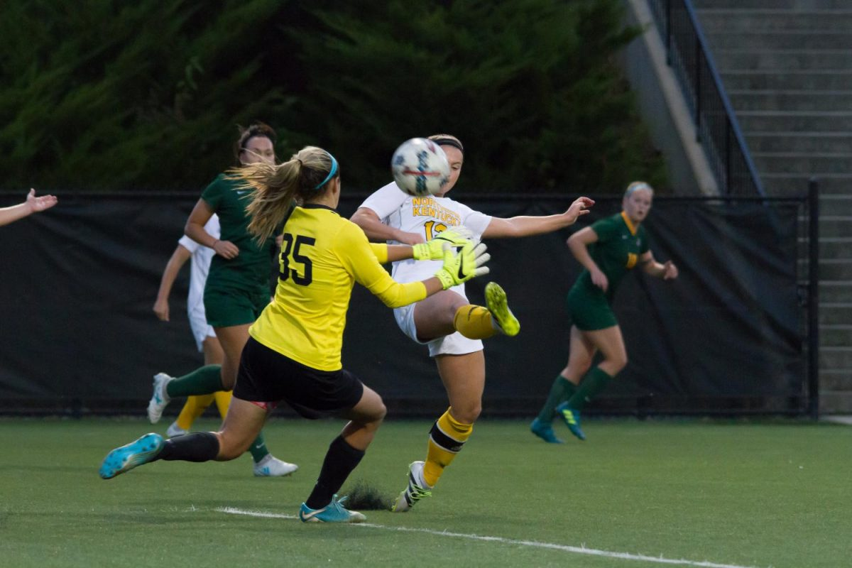 September 27, 2017--Jessica Frey (12) takes a shot in the game against Wright State at NKU Soccer Stadium in Highland Heights, Ky