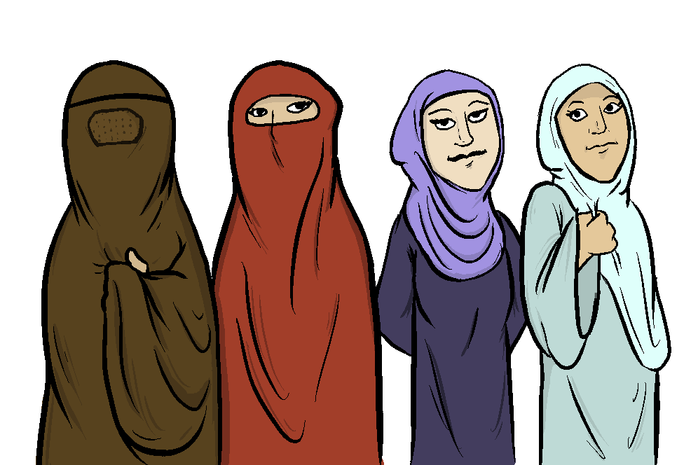 Muslim+headdresses+from+left+to+right+%3A+burqa%2C+niqab%2C+hijab%2C+and+chador.+