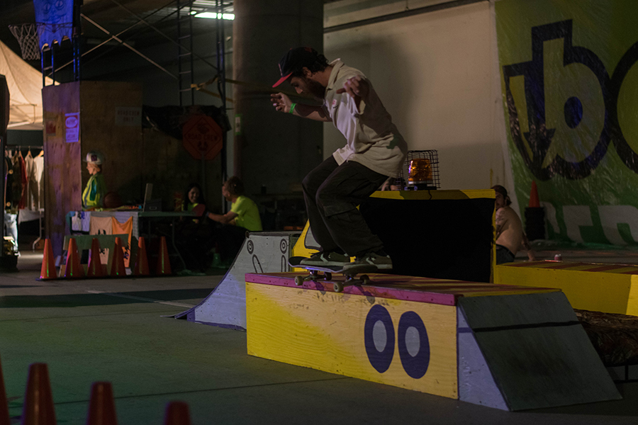 Construction+themed+skate+ramps+and+boxes+were+setup+for+skateboarders+at+Ubahn+Fest.