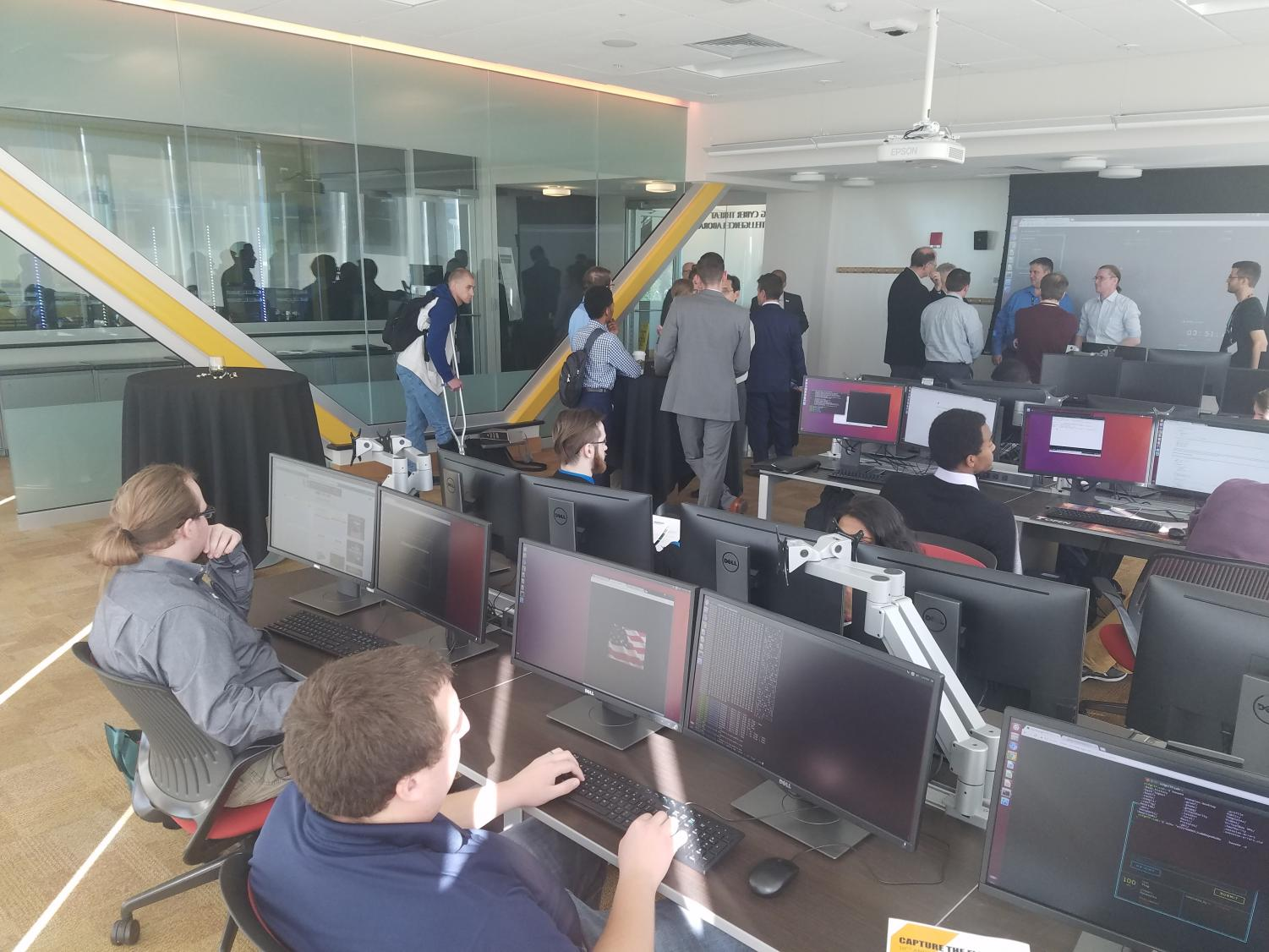 Students work in the JRG Cybersecurity lab.