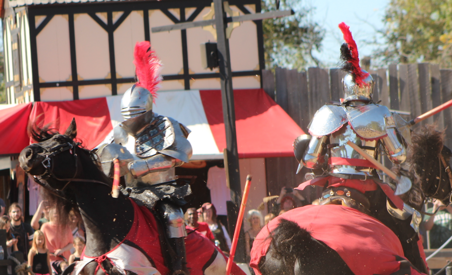 Lances splinter apart as knights joust at the Ohio Renaissance Festival on Oct. 14.