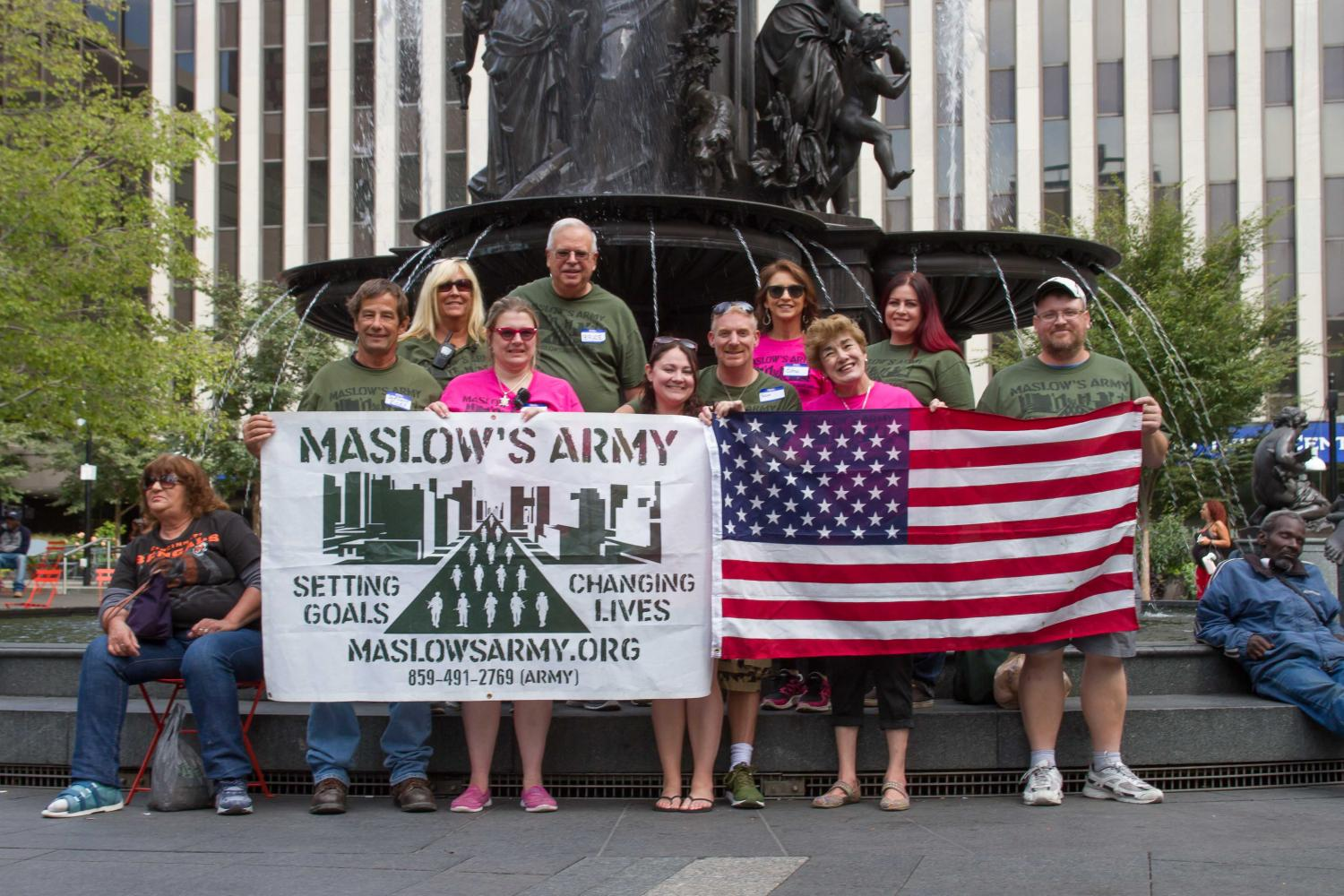 Maslow's Army was formed in October of 2016 by Susan and Samuel Landis (center).