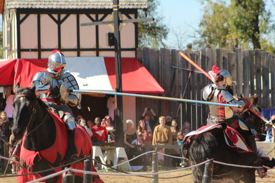 Sir Laurence lands a heavy blow at the Ohio Renaissance Festival in Harveysburg on Oct. 14.