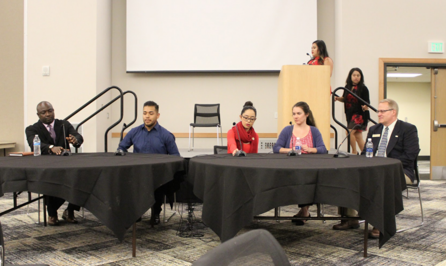 From left to right, Felix Okpe, Victor Ponce, Sandra Oñate, Allison Herre, and W. Allen Cole served as panelists at the DACA town hall on Oct. 19.