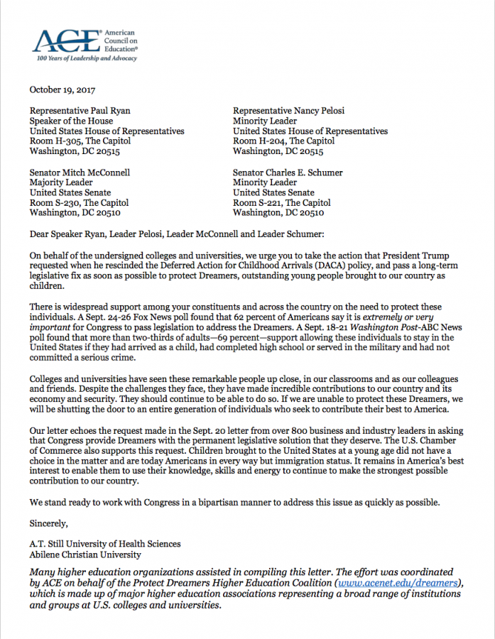 The American Council on Education's letter was signed by almost 800 public and private universities.