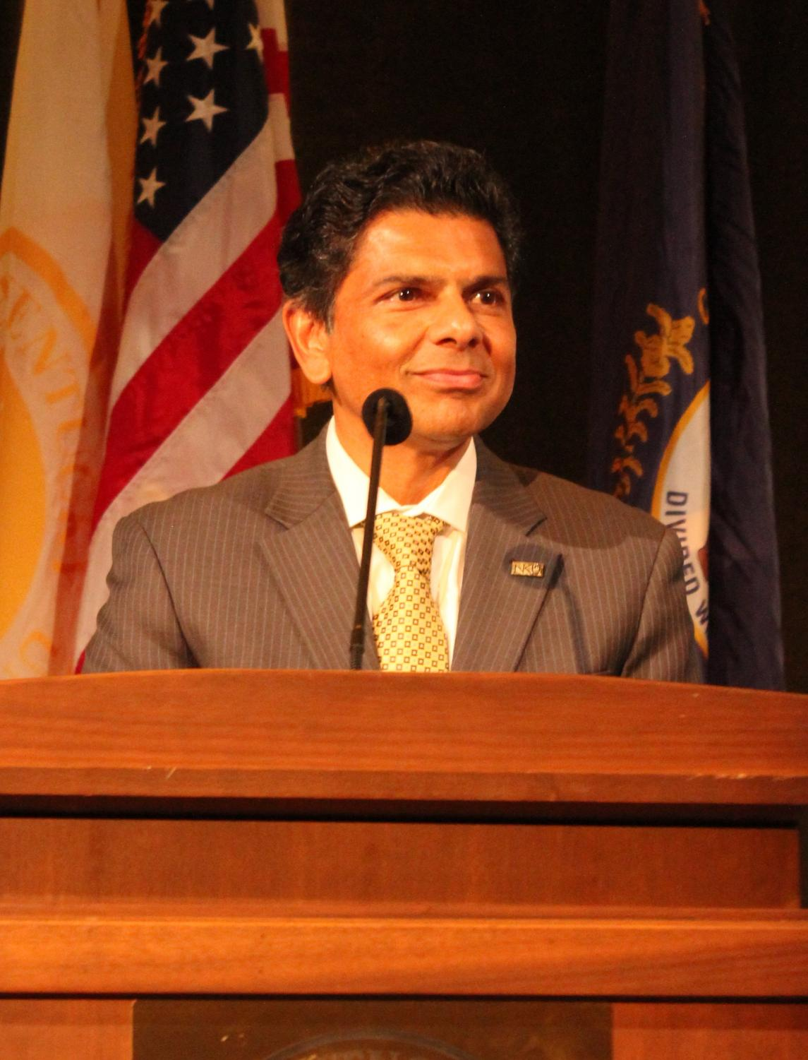 Dr. Ashish Vaidya, NKU's sixth president, addressed students and administrators in SU ballroom on Thursday.