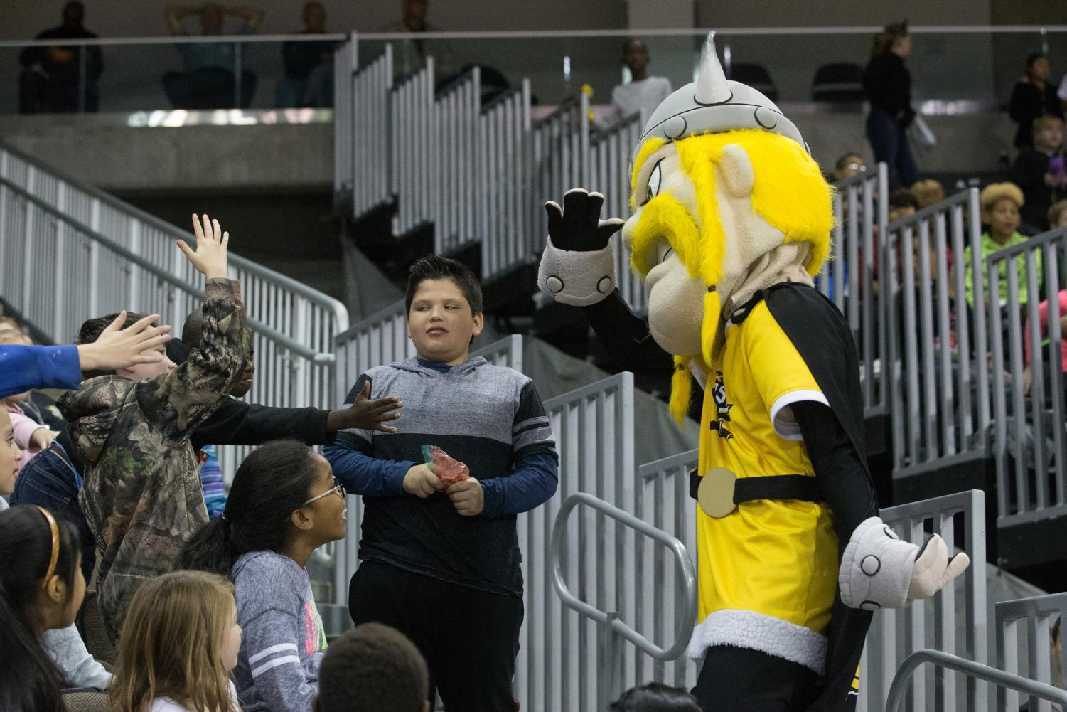 NKU+fans+dance+with+Victor+during+the+game+against+Robert+Morris.